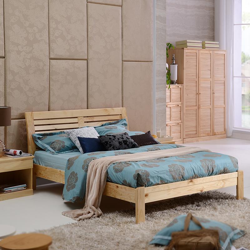 喜梦宝 实木床1.5米 双人床繁复当代松木床 卧室家具故乡床 原木