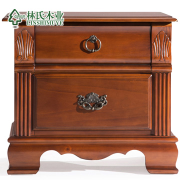 林氏木业古典美式实木床头柜松木做旧寝室收纳柜家具现货B4133-20