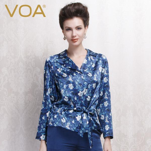VOA 真丝上衣女长袖 2014秋新品桑蚕丝衬衫 碎花丝绸衬衣B1076