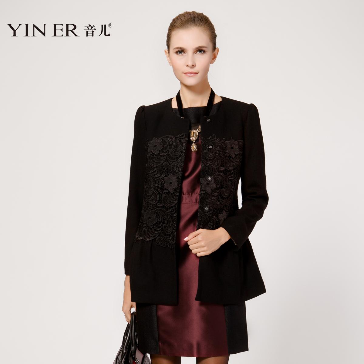 YINER音儿 专柜正品秋冬 高端蕾丝羊毛外套 大衣83510126
