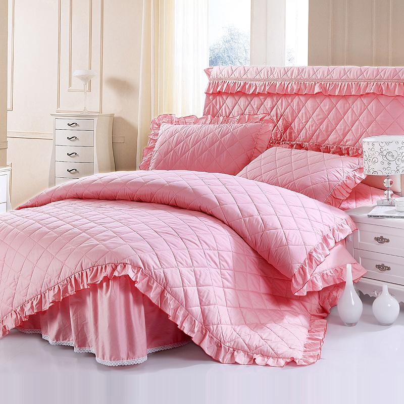 花木 床裙+被套+枕套=公主风四件套包邮