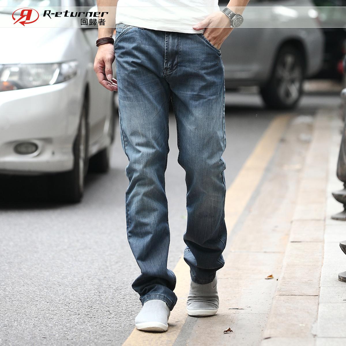 Джинсы мужские Повседневные джинсы бэгги джинсы мужские репатриантов 2014 весенне летнего мужчины и корейской версии прямой r2960