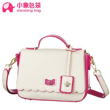 小象包袋2014新款撞色潮流時尚女韓版鎖扣手提斜跨包包