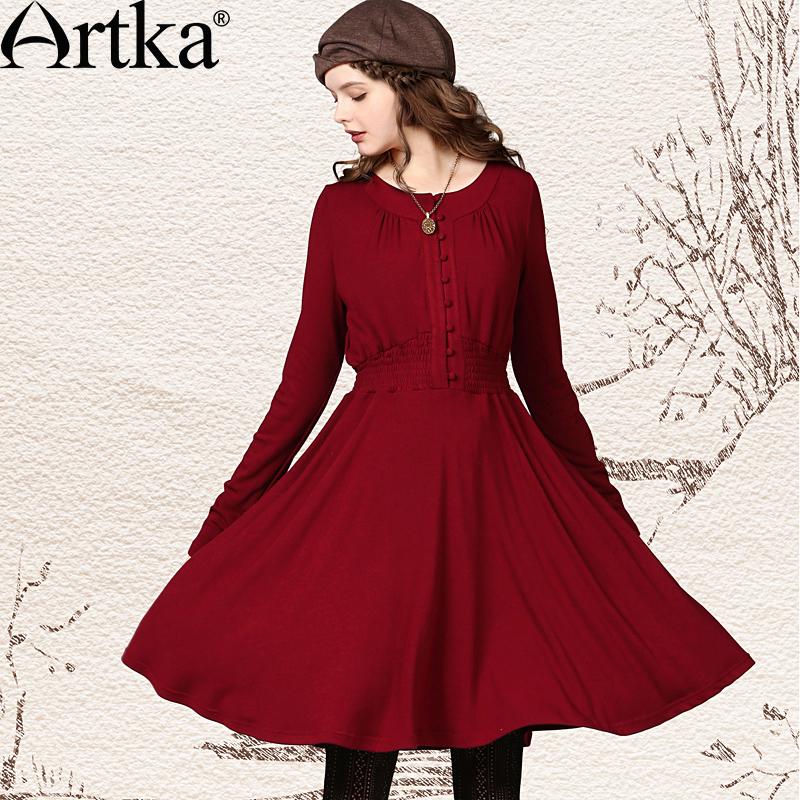 Осеннее яркое платье с сильно расклешенной от талии юбкой