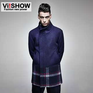 Viishow in the 2015 men's windbreaker men's Plaid wool coat collar jacket-season around wallets clearance