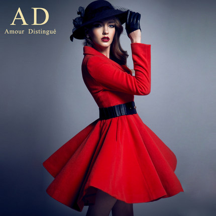 AD the European and American high-end brand woolen woolen cloth coat 2014 autumn and winter in the new long dress cloth