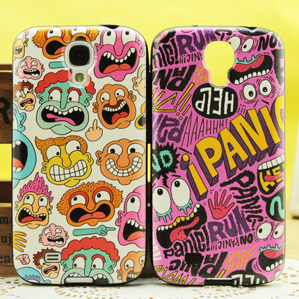S4 Samsung i9500 silicone case i9508 cell phone holster i959 phone shell protective sleeve cartoon black edges soft shell tide