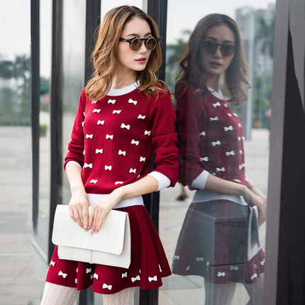 Female suit hedging sweater 2014 autumn and winter in Europe and America College Wind round neck long-sleeved sweater piece skirt suit female