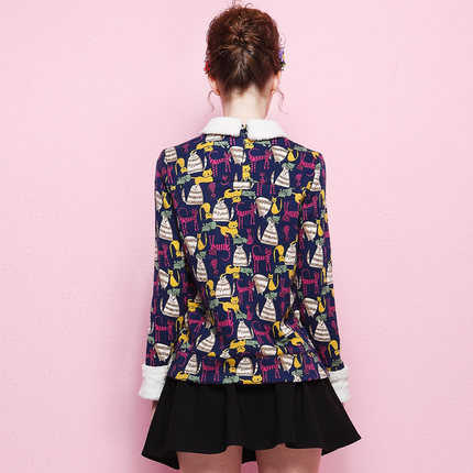 Europe Nick snow early autumn 2014 autumn and winter new European leg suit fashion cartoon printed two-piece dress tide