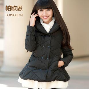 帕欧恩2013秋冬新款女式羽绒棉服外套中长款棉衣甜美公主圣诞棉袄