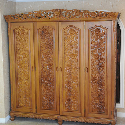 Bon Crown Grapefruit Rose Four Gold Teak Wardrobe Closet Solid Wood Furniture ,  European Furniture Four Wardrobe