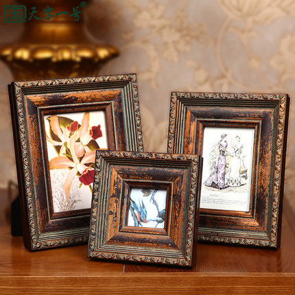 European high-grade bully One 3 -inch photo frame swing sets creative 6-inch 7-inch photo frame wooden photo frame wood frame