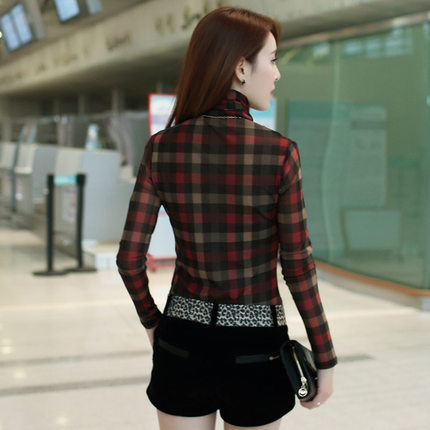 Color 2014 new winter long female high collar bottoming shirt Slim was thin gauze plus thick velvet plaid shirt bottoming