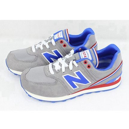 official photos b5c61 7c451 Get Quotations · New Balance New Balance KL574JGG female models of mixed  colors blue and gray running shoes sneakers