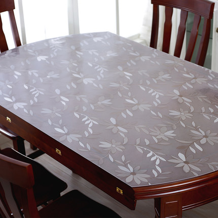 PVC Tablecloth Transparent Soft Glass Water And Oil Repellency Disposable Table  Cloth Plastic Mat Crystal Plate