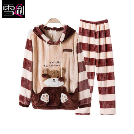 Li autumn and winter snow lovers coral velvet pajamas home service Men Women thick warm flannel suit