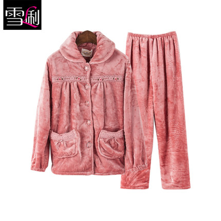 Li new autumn and winter snow thick coral velvet pajamas long-sleeved flannel pajamas Ms. suit tracksuit 9367