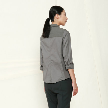 [ 0825 ] JNBY New South commoner autumn new models long-sleeved shirt stitching Ms. Flax 5C61145
