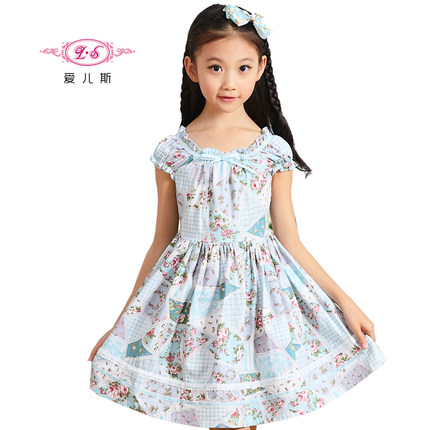 8d3ab7a883f9 ls Kids 2014 summer new Korean version of the influx of large floral cotton  dress child