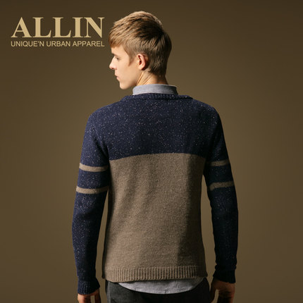 ALLIN Men stitching striped sweater round neck sweater male Korean Slim thin section autumn coat tide