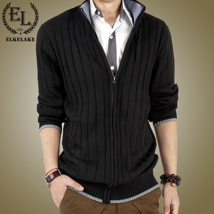 Autumn Korean men sweater men sweater knit cardigan male stitching Slim thin coat tide big yards Men