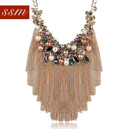 Decorated World America bohemian fashion jewelry in Europe and America exaggerated tassel necklace short chain ossicular chain sweater chain accessories