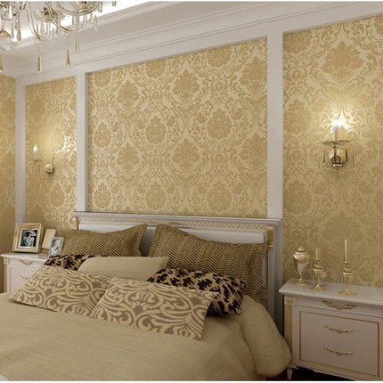 Buy european sprinkle gold woven brown flocked wallpaper for Gold wallpaper living room