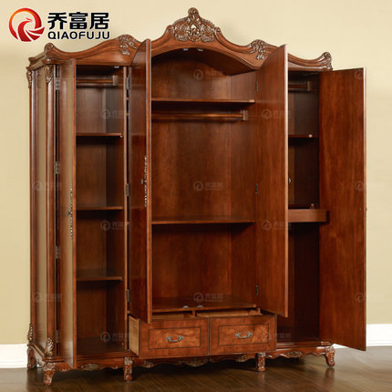 Joe Rich Ranking American Classical Wood Color Four Carved Wood Wardrobe  Closet Wardrobe Whole European Wooden