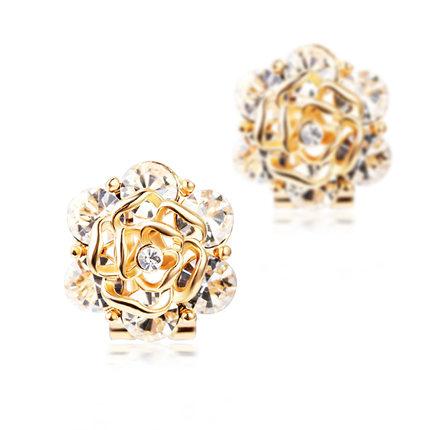Get Quotations Original Fashion Flowers Fake Gold Charm Earrings No Pierced Ear Clip Female Full Diamond Trinkets