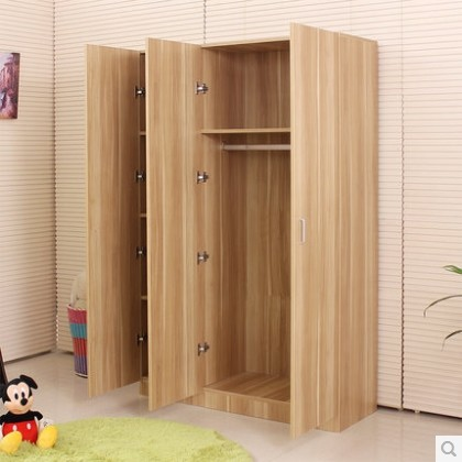 Plate Simple IKEA Wardrobe Closet Solid Wood Composition Assembled Three Four Furniture