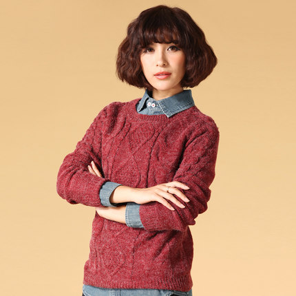 Retro hedging mohair sweater female autumn and winter 2014 Slim new women's round neck sweater coat female models bottoming