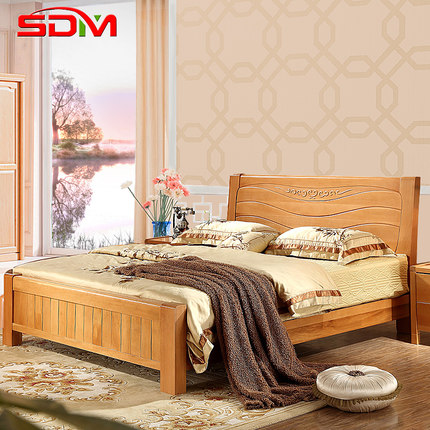 Buy elm modern minimalist all wood bed 1 8 m high - All in one double bed ...