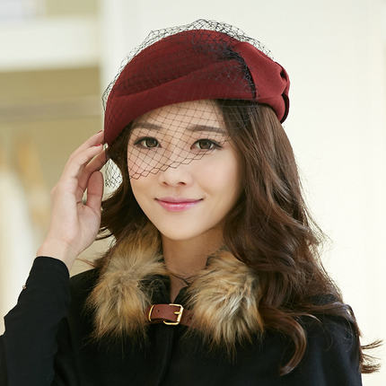 57930eb0d6fc1 Get Quotations · Siggi hat female autumn and winter fashion beret wool hat  wool hats England small hat stewardess