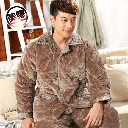 6521fbc1c5 US Miu quilted flannel pajamas men s winter thick coral velvet Special  winter days