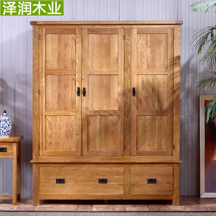 Zerun Oak Furniture Wood Wardrobe Closet Wardrobe Closet Two Three Four Wardrobe  Closet